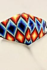 FACE MASK SATIN CLOTH W/ COTTON LINER FILTER POCKET AZTEC MULTI DIAMOND