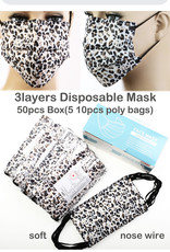 FACE MASK 50 PACK DISPOSABLE BLUE PINK ANIMAL PRINT