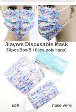 FACE MASK 50 PACK DISPOSABLE SCALLOP MULTI 3 LAYER