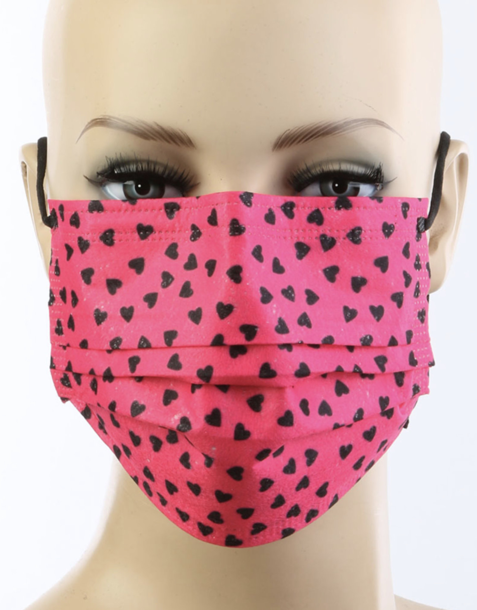 FACE MASK 50 PACK DISPOSABLE CORAL HEARTS 3 LAYER