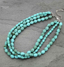 NECKLACE LONG TURQ OVAL BEADED
