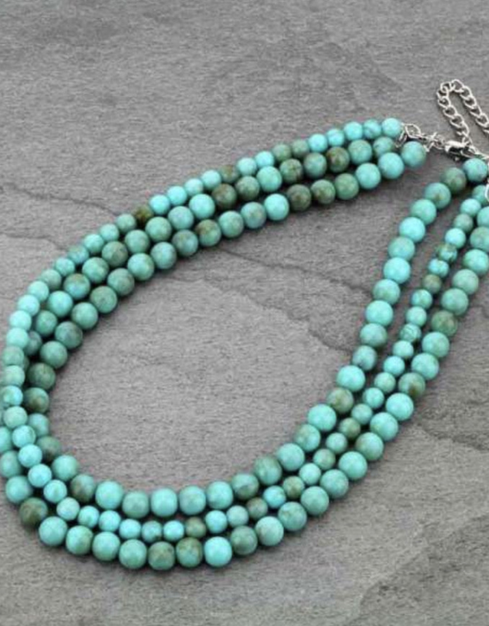 NECKLACE LONG TURQ ROUND BEADED
