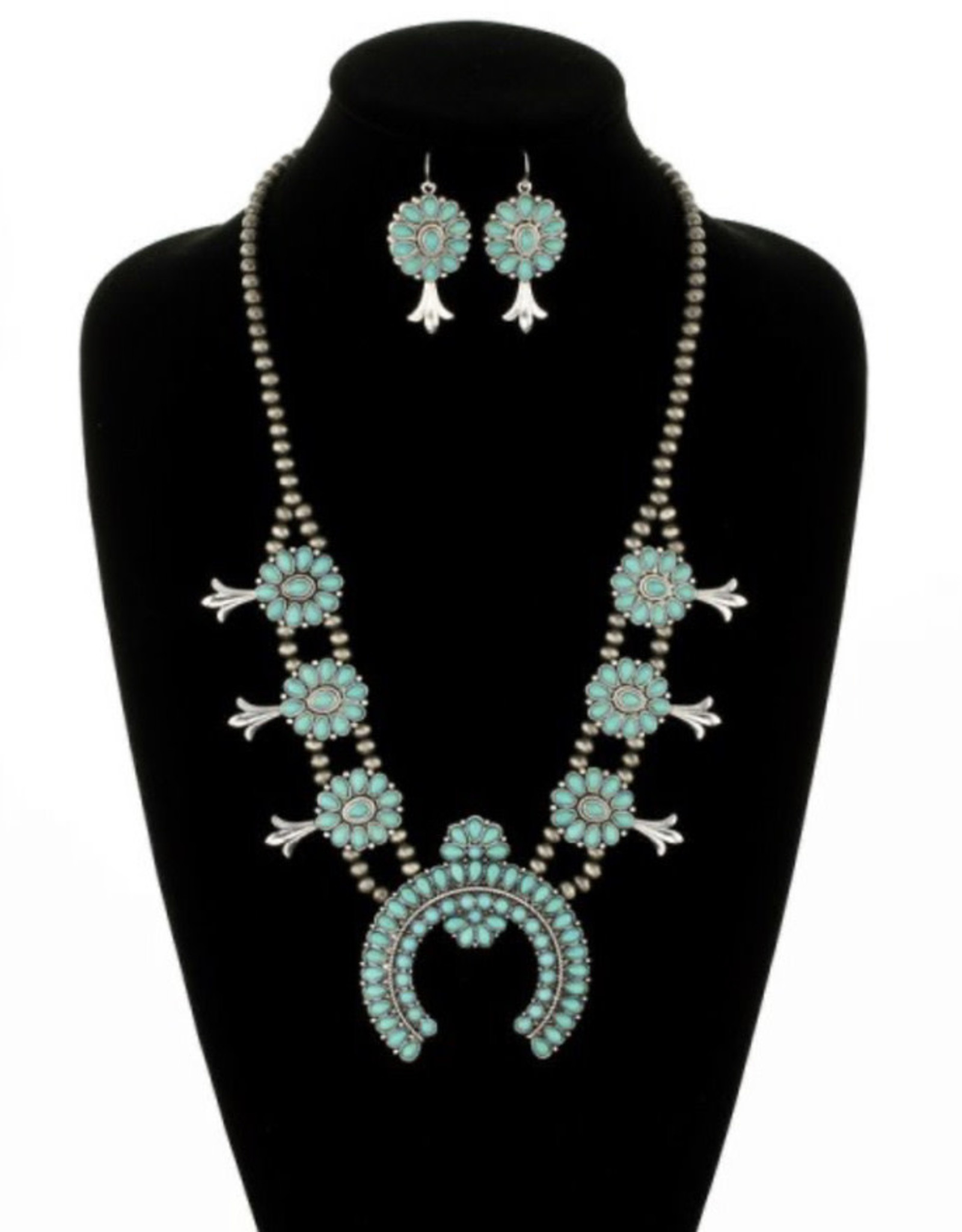 NECKLACE NAVAJO PEARL SQUASH TURQ SET
