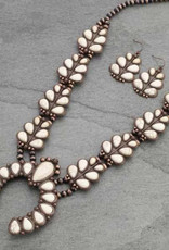 NECKLACE NAVAJO PEARL SQUASH WHITE AND COPPER SET