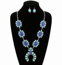 NECKLACE SQUASH BLOSSOM TURQ/BLUE SET
