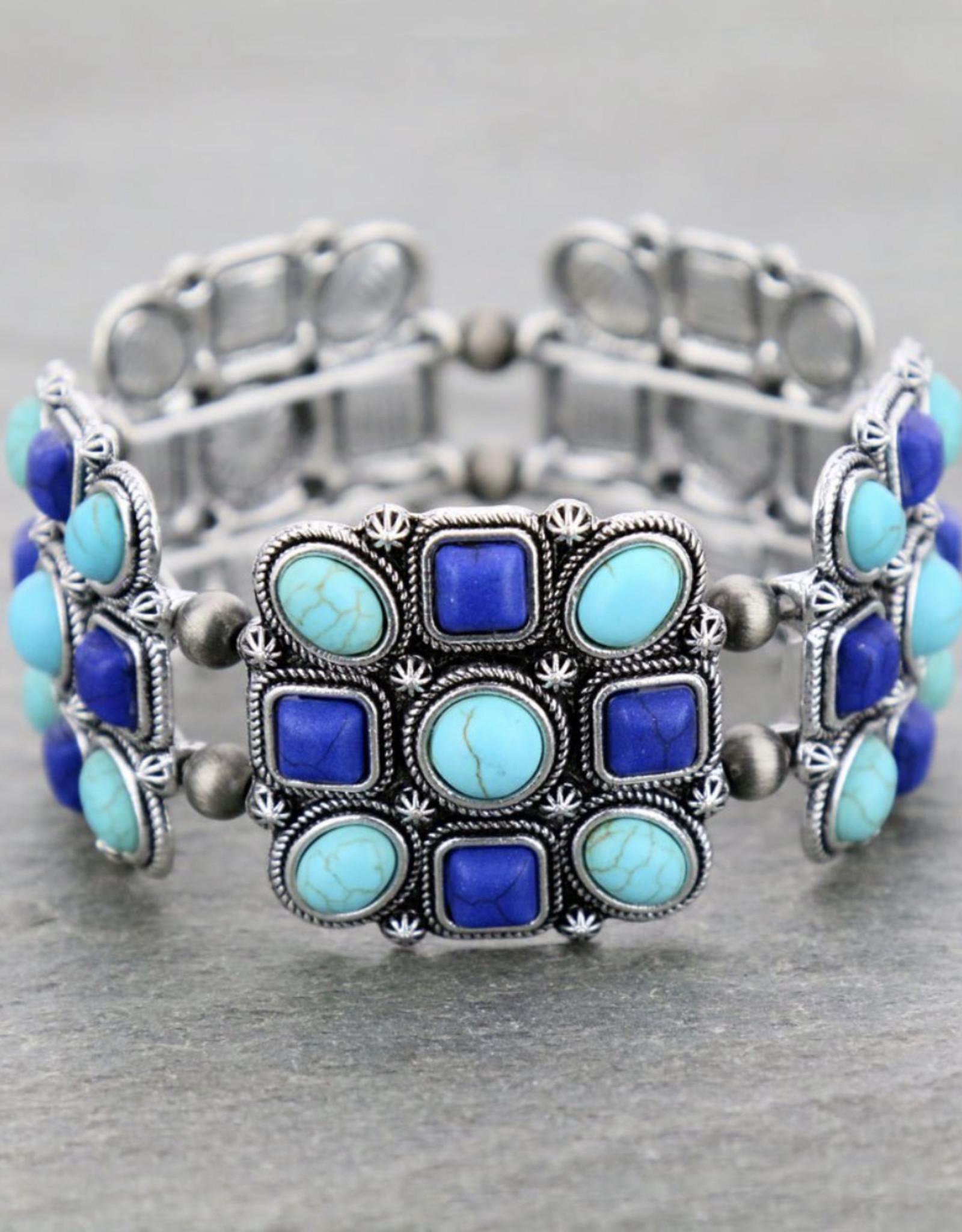 BRACELET TURQ/BLUE STRETCH