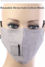 FACE MASK VELCRO STRAW HOLE FOR DRINKING GRAY