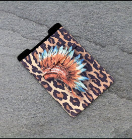 PHONE POCKET STRETCH INDIAN HEADRESS/LEOPARD