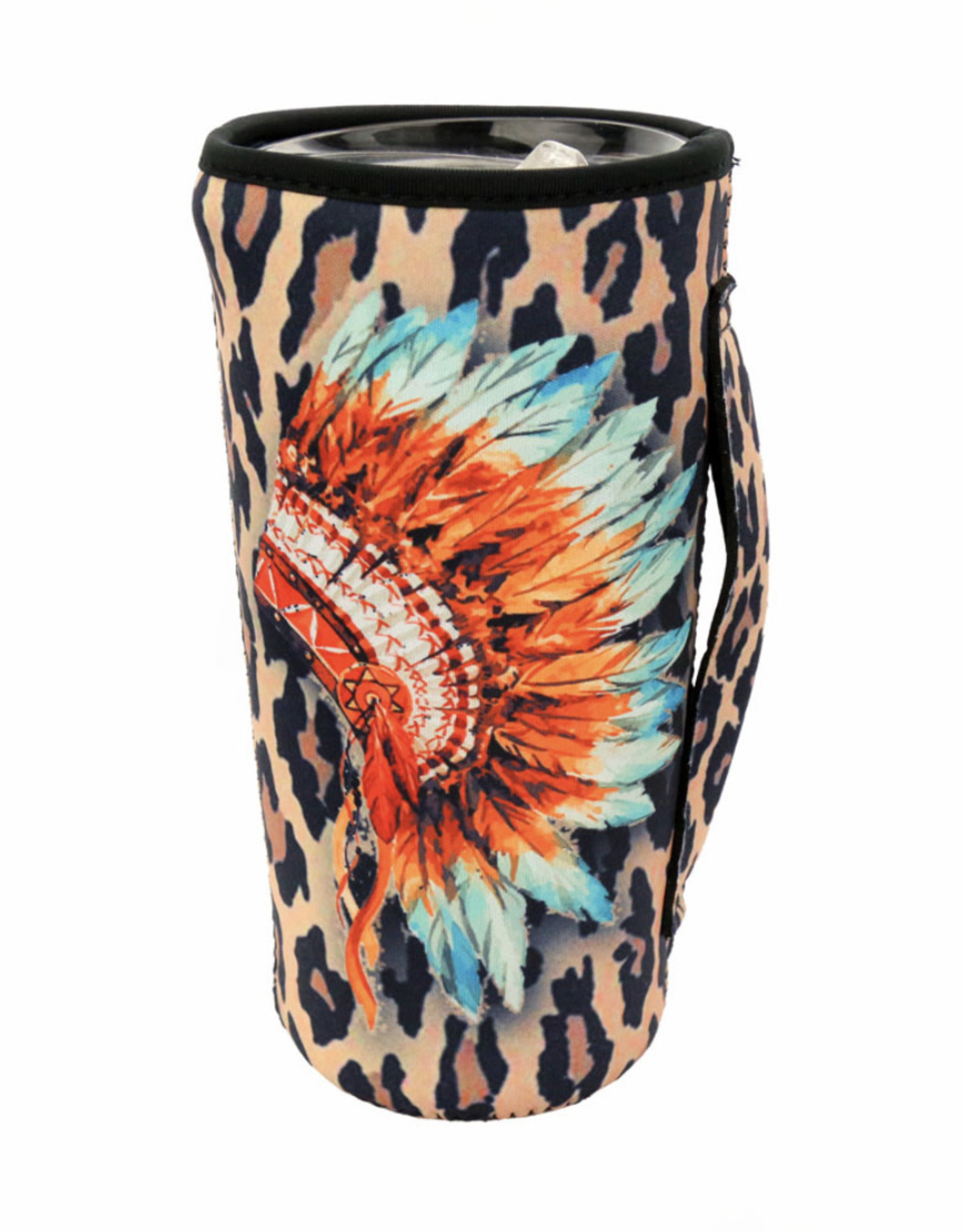DRINK SLEEVE KOOZIE 20 OZ TUMBLER HEADDRESS LEOPARD