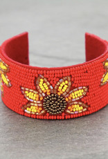 BRACELET SEED BEAD SUNFLOWER RED