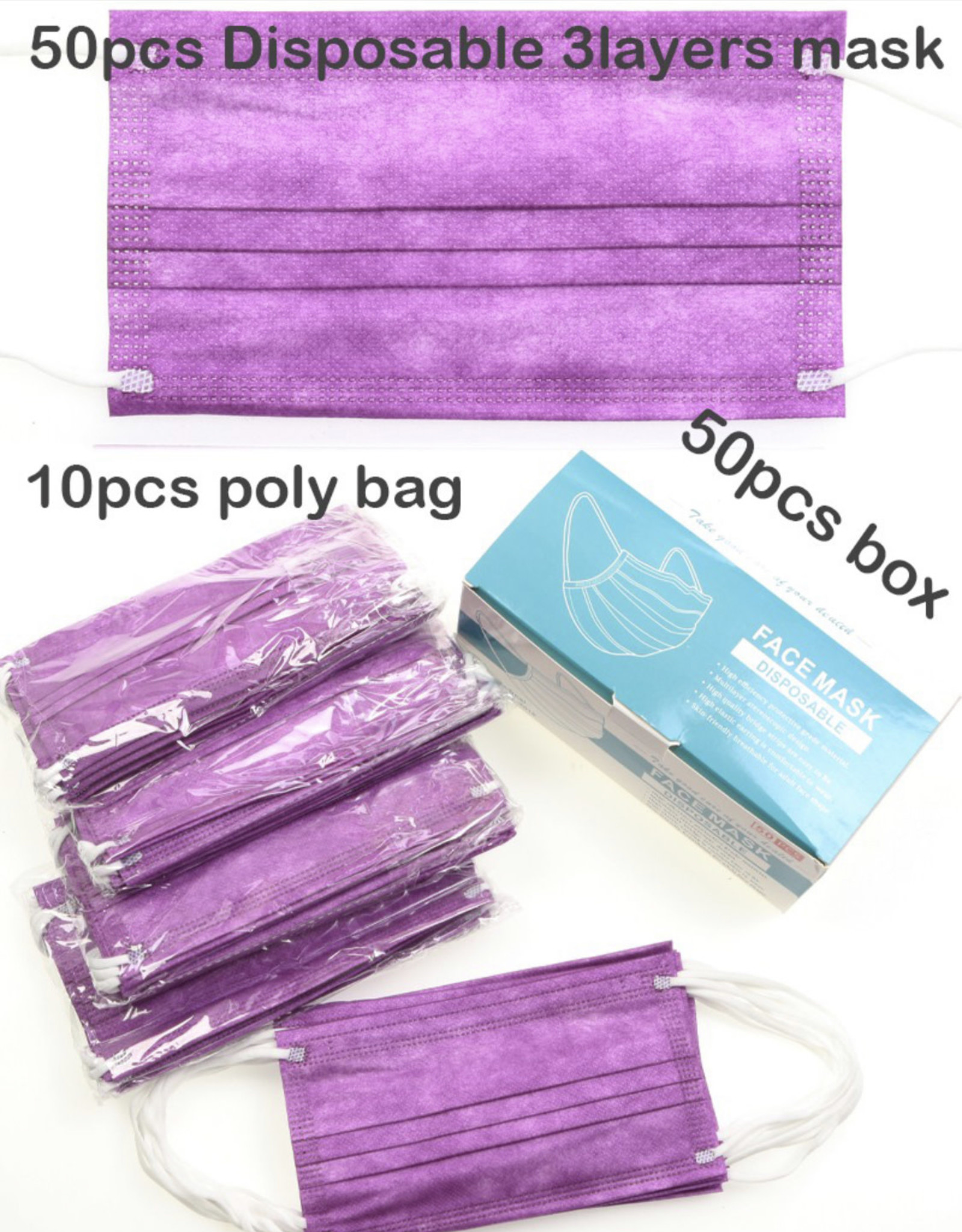 FACE MASK 50 PACK DISPOSABLE PURPLE