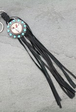 KEY CHAIN LEATHER W CONCHO LEATHER TASSLE