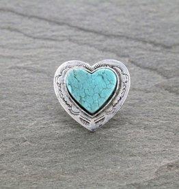 RING BIG FLAT TURQ STONE  HEART