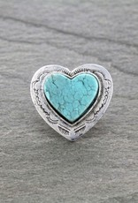 RING BIG FLAT TURQ STONE  HEART