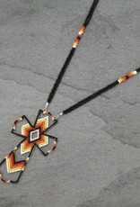 NECKLACE CROSS BEADED MULTI COLOR/BLACK