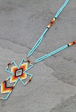 NECKLACE CROSS BEADED MULTI COLOR/TURQ