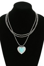 "NECKLACE NATURAL TURQ HEART PENDANT 18""LONG"
