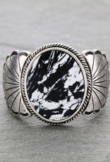 BRACELET WESTERN MARBLE WHITE/BLACK STRETCH