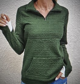 WOMAN HALF ZIP PULL OVER FOREST GREEN