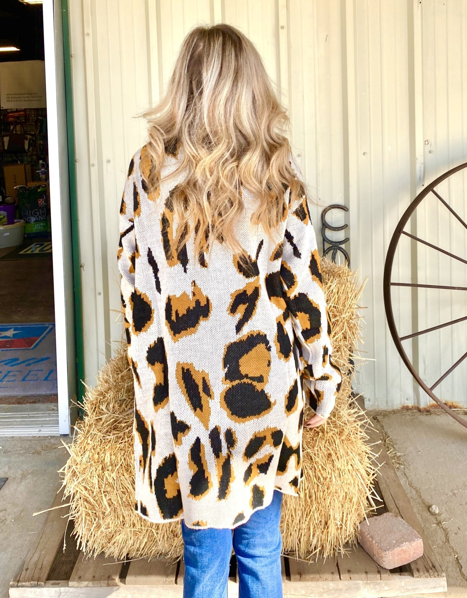 LADIES CARDIGAN SWEATER LEOPARD W POCKETS