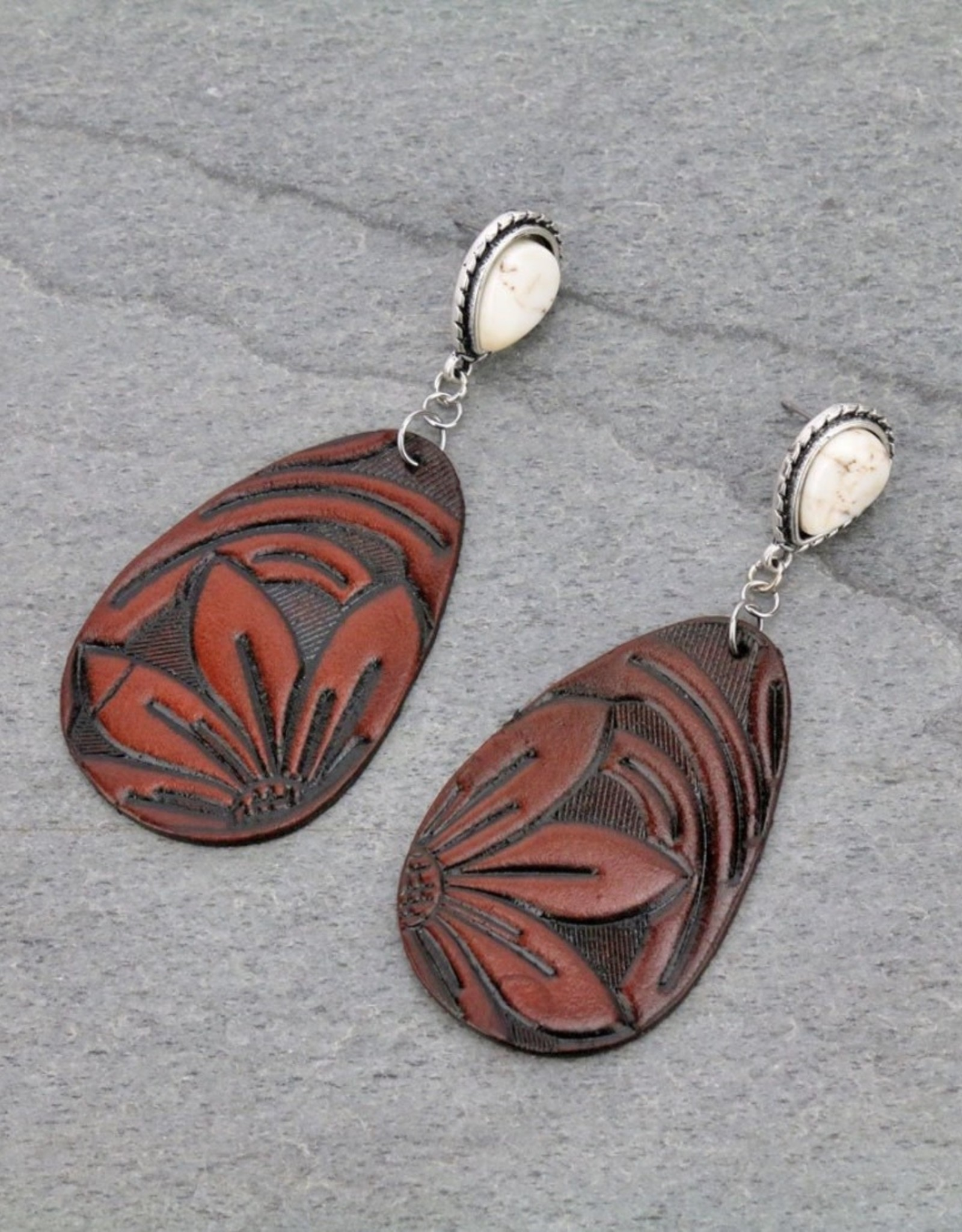 EARRING LEATHER TOOLED FLOWER NATURAL STONE POST