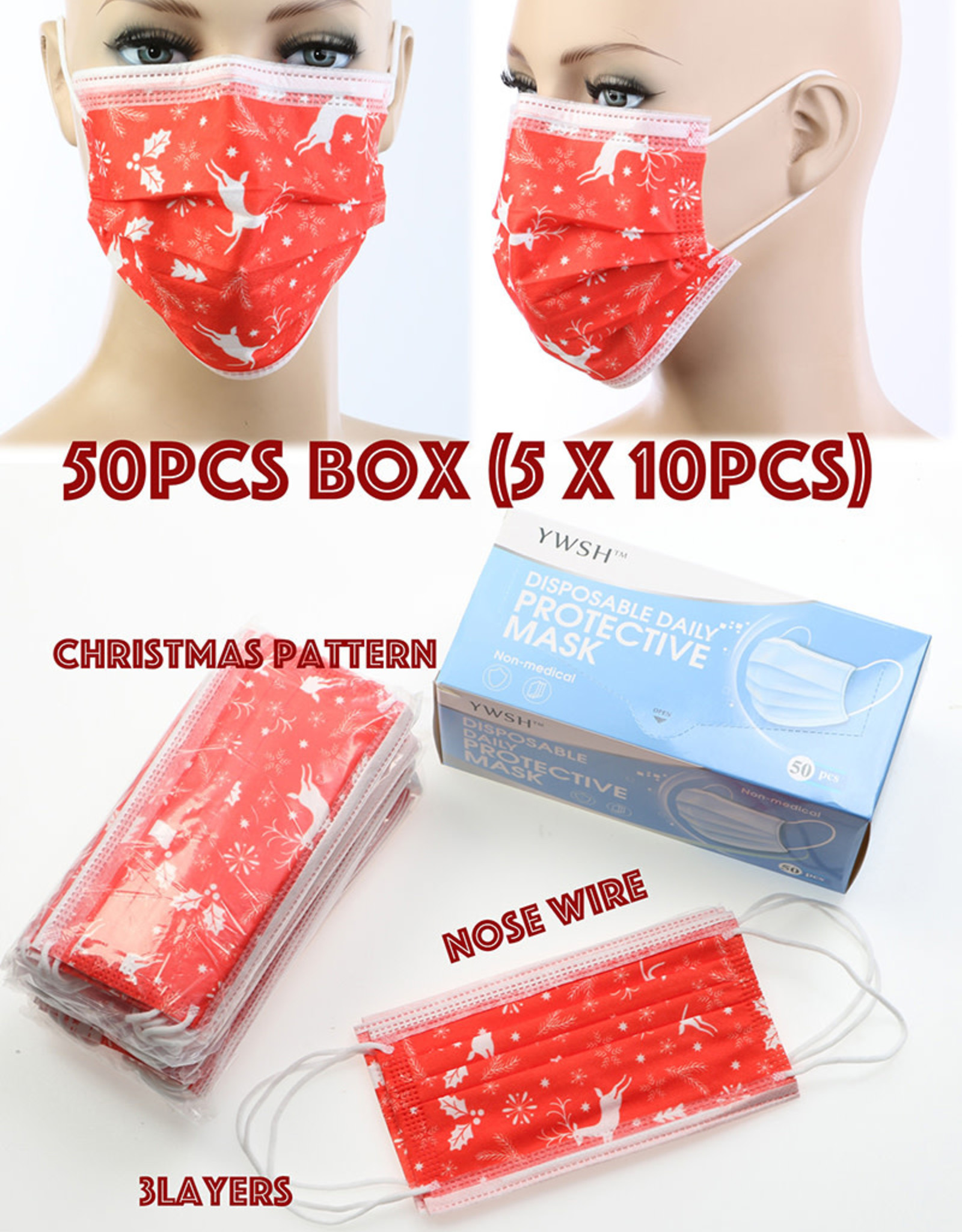 FACE MASK 50 PACK DISPOSABLE CHRISTMAS PRINT