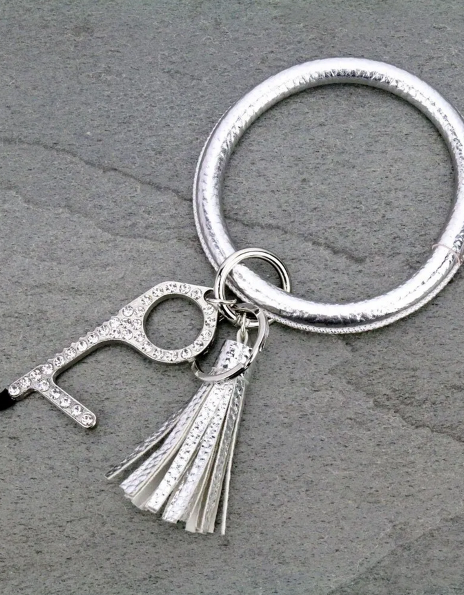 BANGLE KEY RING SILVER CONTACTLESS WITH DOOR OPENER SAFETY KEY