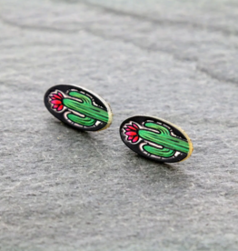 EARRING OVAL CACTUS LEATHER STUD