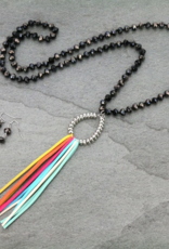 NECKLACE SET GLASS BEAD TEARDROP TASSEL MULTI-COLOR