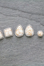 EARRING 3 PAIR NATURAL STONE SET