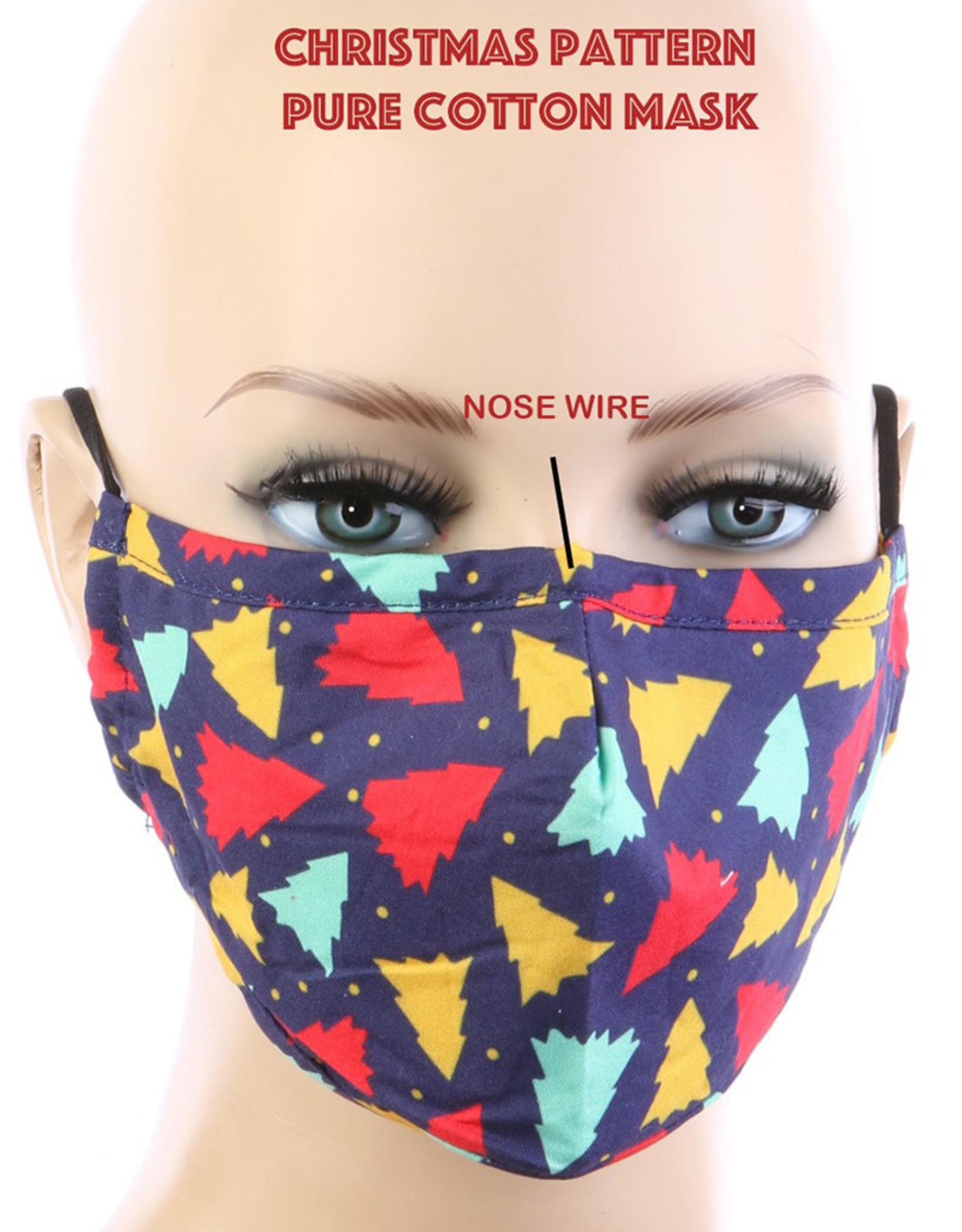 FACE MASK COTTON FILTER POCKET CHRISTMAS PRINT