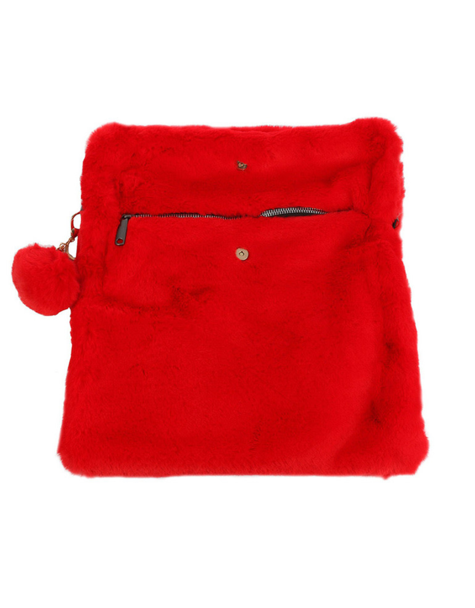 "PURSE RED VELVET SOFT FAUX FUR REMOVEABLE POM POM KEY CHAIN AND SHOULDER CHAIN 13"" X 10.5"" ZIPPER W MAGNET CLOSURE"