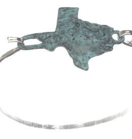 BRACELET CUFF GREEN TEXAS SHAPE HOOK CLOSURE