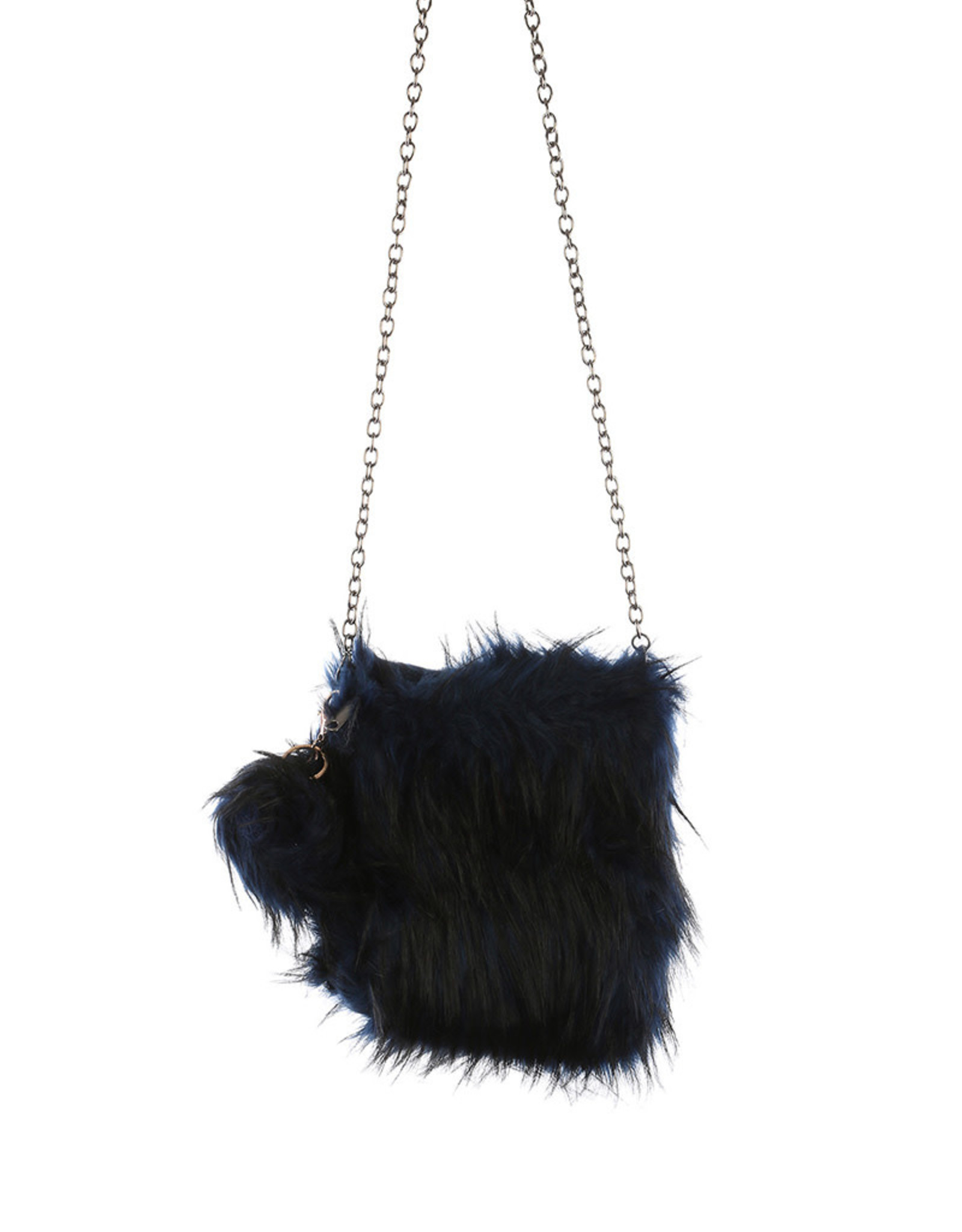 "PURSE NAVY BLK  SOFT FAUX FUR REMOVEABLE POM POM KEY CHAIN AND SHOULDER CHAIN 8.5 X 9"" ZIP TOP CLOSURE"