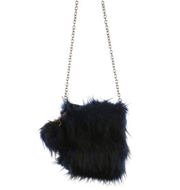 """PURSE NAVY BLK  SOFT FAUX FUR REMOVEABLE POM POM KEY CHAIN AND SHOULDER CHAIN 8.5 X 9"""" ZIP TOP CLOSURE"""