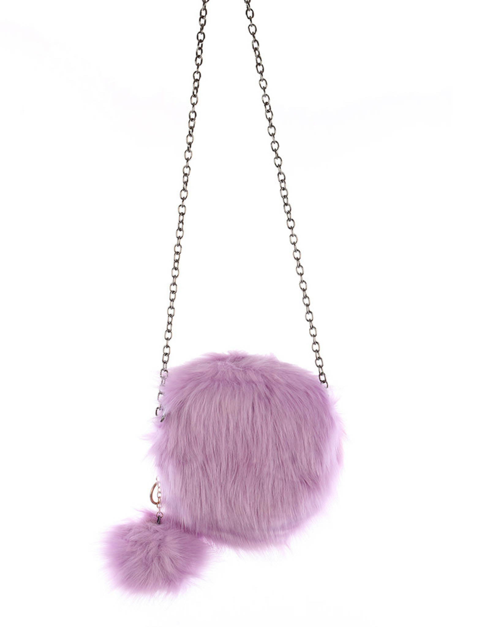 "PURSE ROUND LAVENDAR  SOFT FAUX FUR REMOVEABLE POM POM KEY CHAIN AND SHOULDER CHAIN 8"" ZIP TOP CLOSURE"