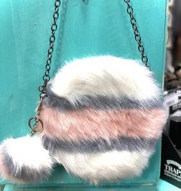"""PURSE ROUND PINK STRIPE  SOFT FAUX FUR REMOVEABLE POM POM KEY CHAIN AND SHOULDER CHAIN 8"""" ZIP TOP CLOSURE"""