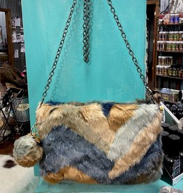 "PURSE NEUTRALS STRIPE SOFT FAUX FUR REMOVEABLE POM POM KEY CHAIN AND SHOULDER CHAIN 8 X 11"" ZIP TOP CLOSURE"