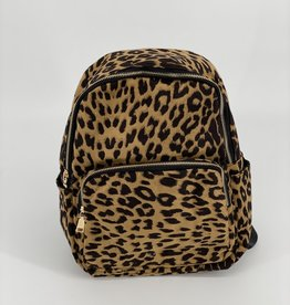 BACKPACK LEOPARD PATTERN PRINT TWO POCKET ZIP