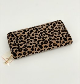 WALLET LEOPARD PATTERN PRINT FAUZ FUR ZIPPER LONG