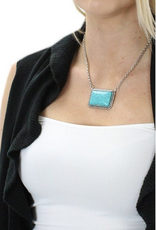 NECKLACE TURQ AND SILVER RECTANGLE 18 INCH