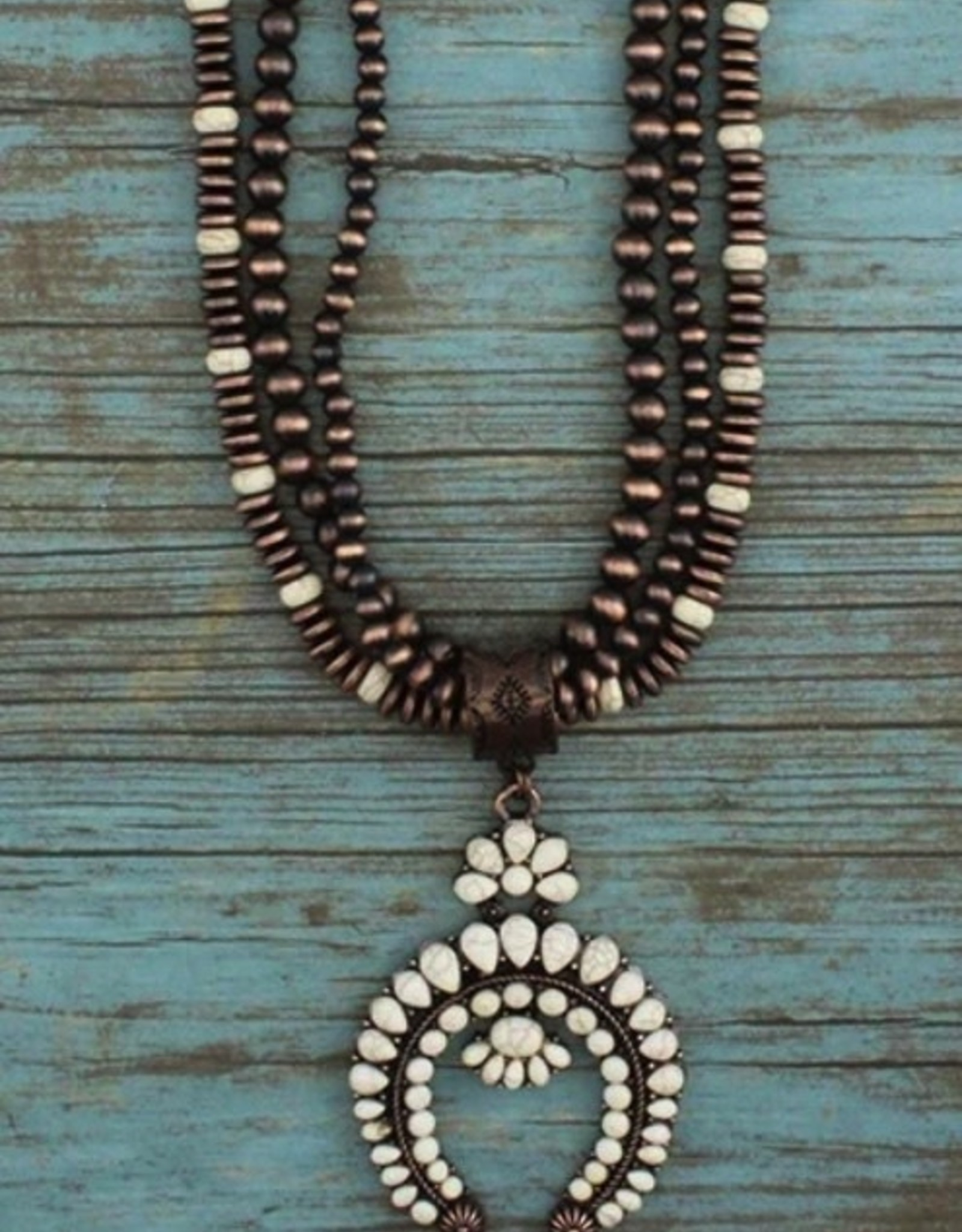 NECKLACE COPPER AND IVORY 32 INCHES SQUASH BLOSSOM
