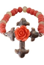 BRACELET CORAL CROSS CRYSTAL BEADED