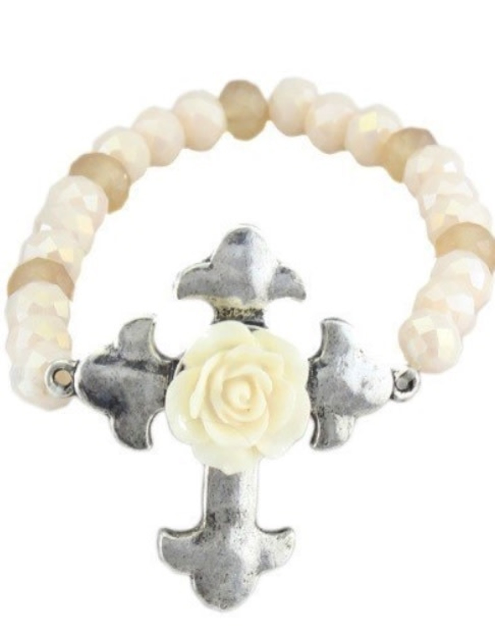 BRACELET IVORY CROSS CRYSTAL BEADED