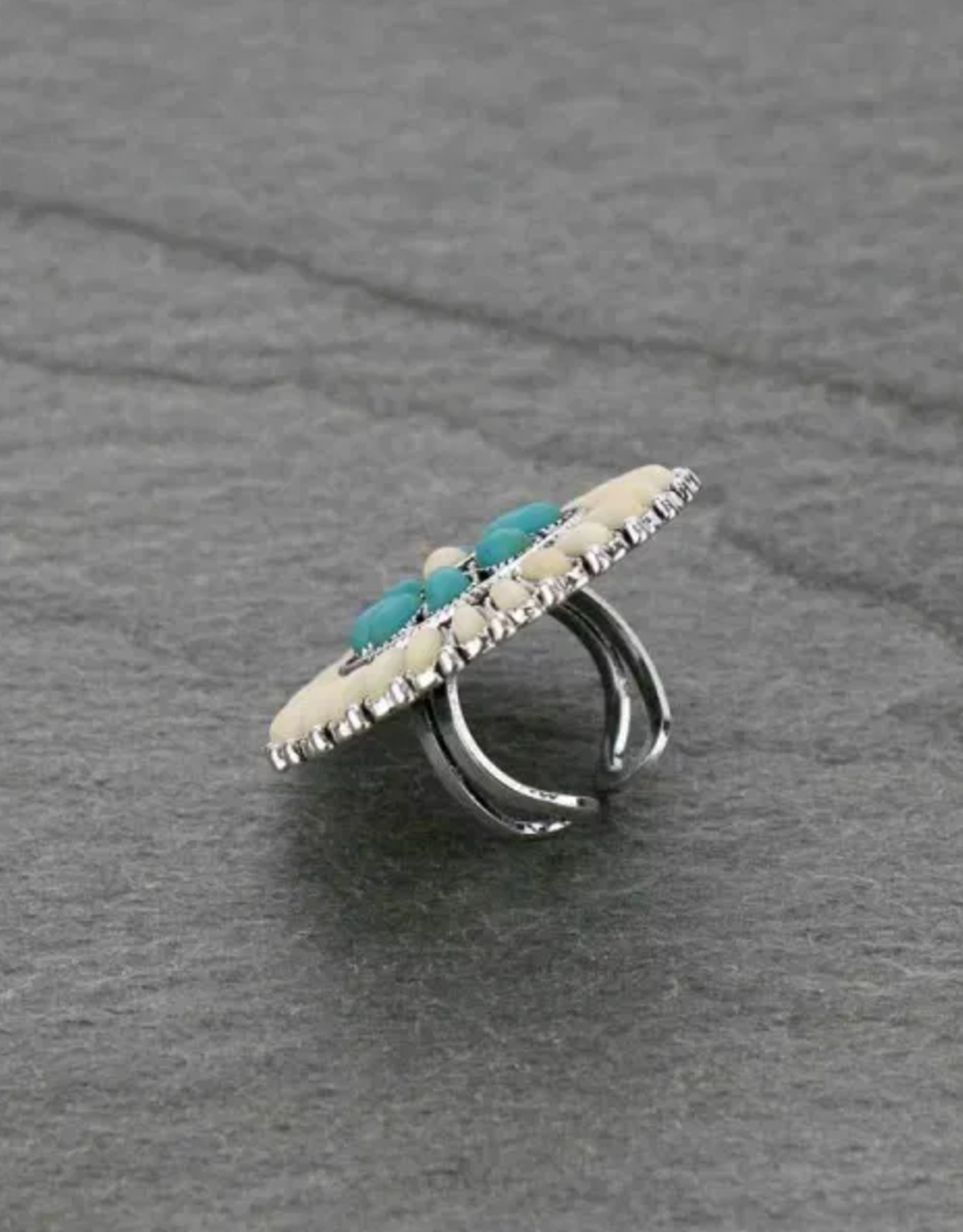RING WESTERN DESIGN NATURAL STONE WITH TURQ