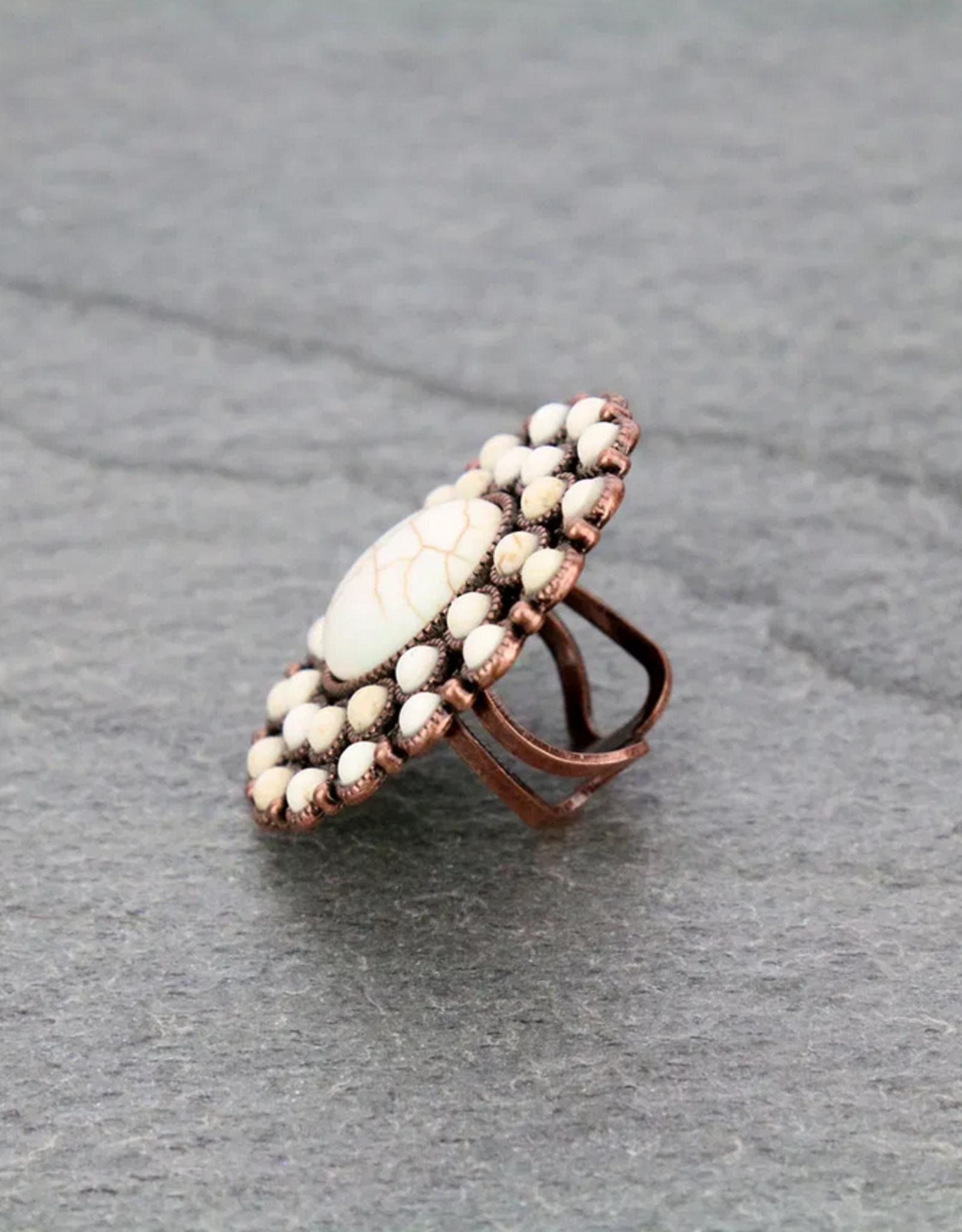 RING NATURAL STONE WITH COPPER CUFF