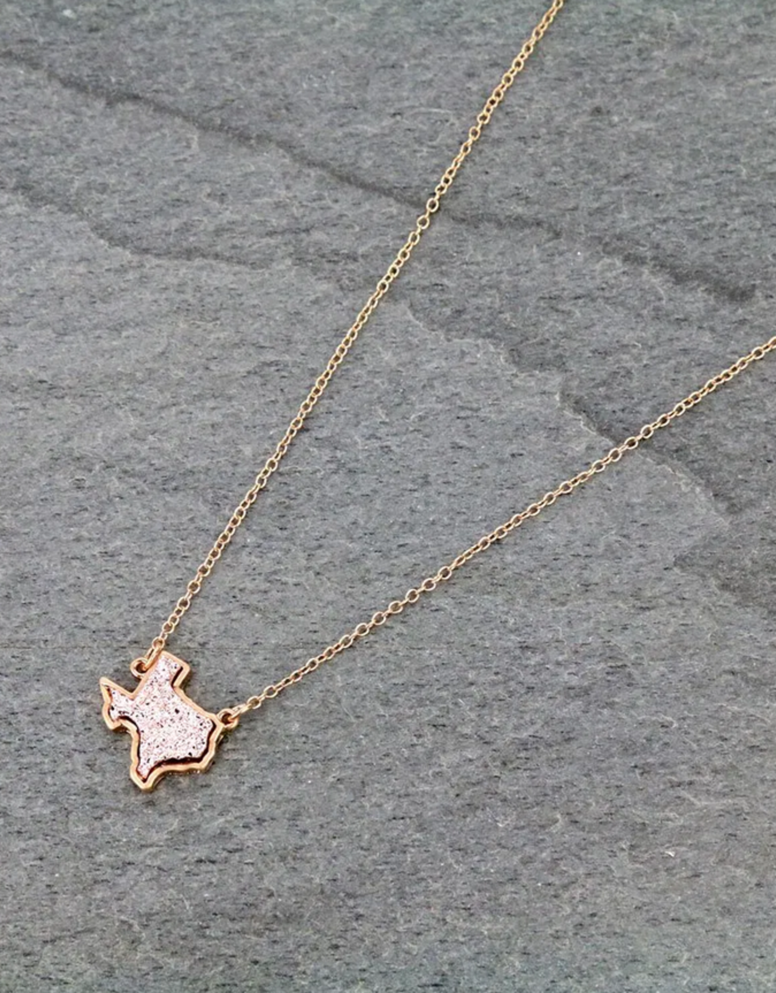 NECKLACE TEXAS MAP DRUZY ROSE GOLD STONE
