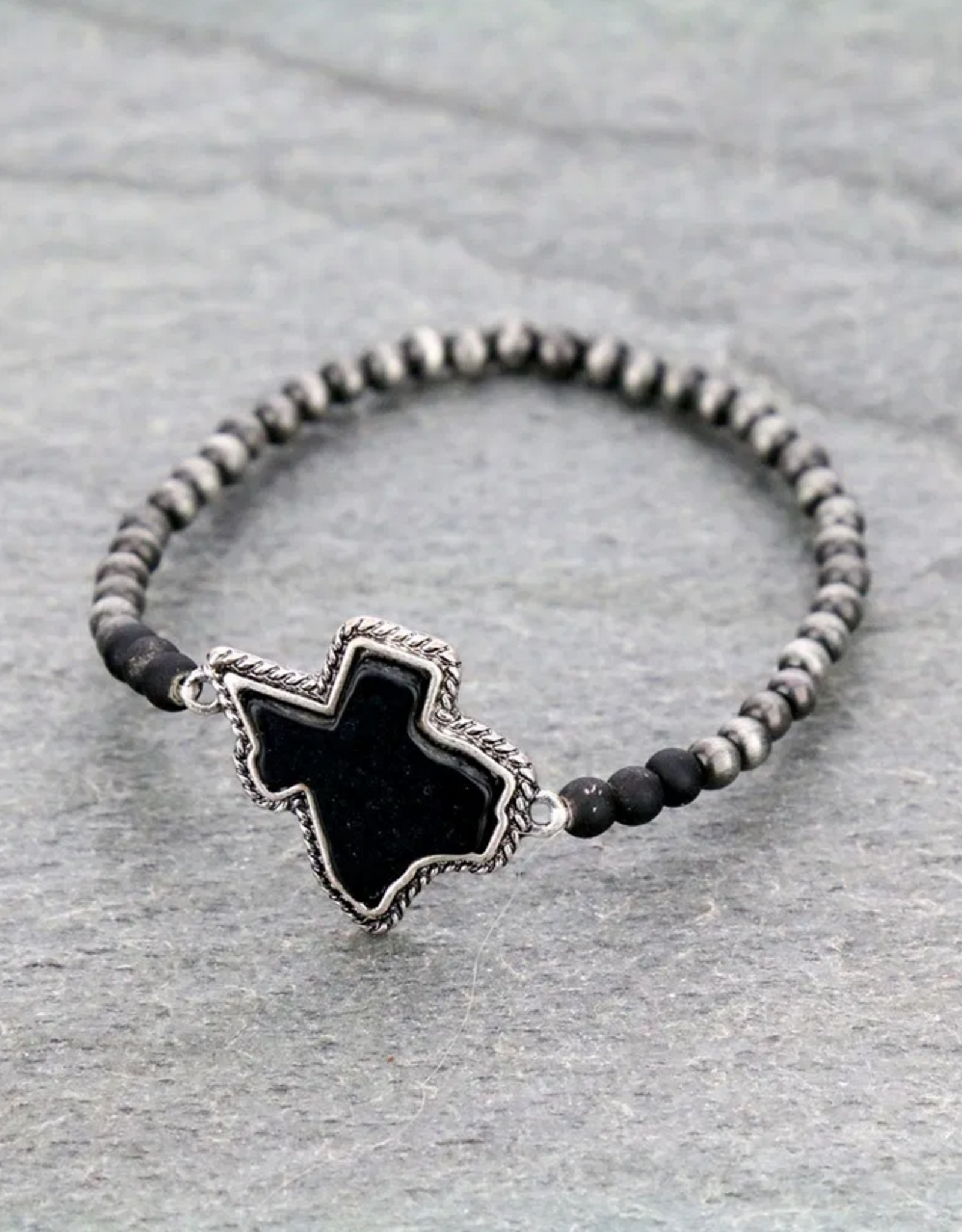 BRACELET PEARL BEAD TEXAS MAP BLACK STRETCH