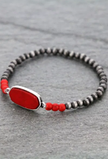 BRACELET NAVAJO STYLE WITH RED STONE