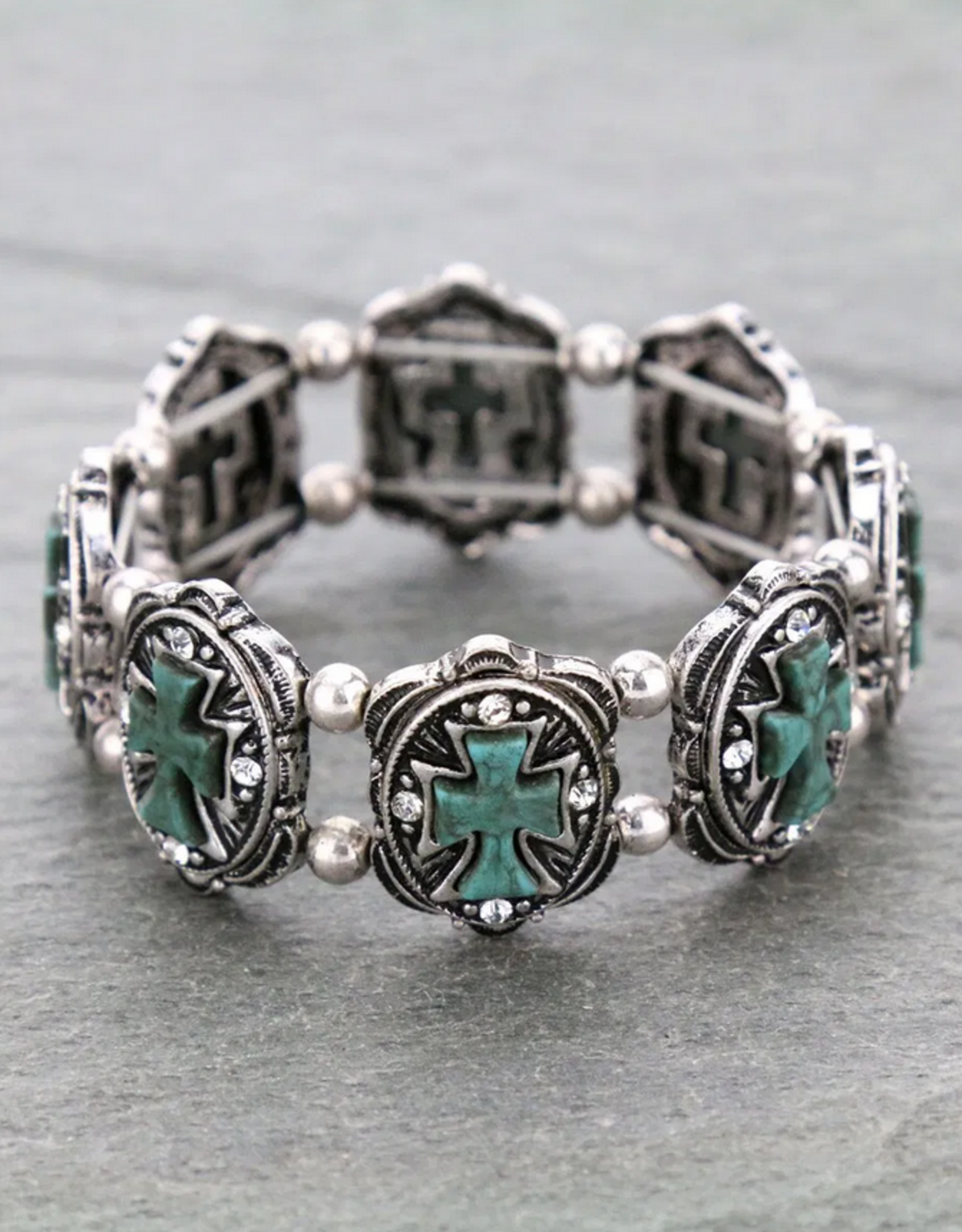 BRACELET CROSS WITH TURQ/SILVER STRETCH